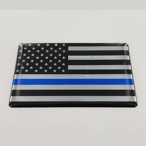 "USA Thin Blue Line Flag Raised Clear Domed Lens Decal 3""x 2"""