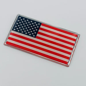 "USA Flag Raised Clear Domed Lens Decal 3""x 1.65"""