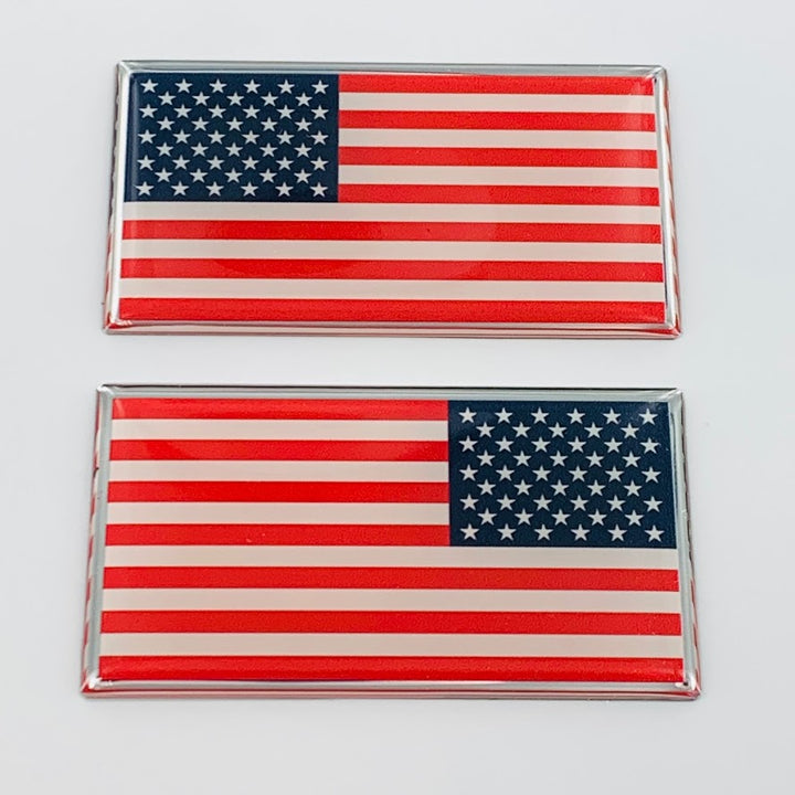 "USA Flag Raised Clear Domed Lens Decal Set Left & Right 1.50"" x 0.88"""