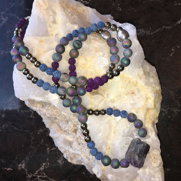 MALA Necklace with Agate Druzy, Blue and Purple Lava Rock, Gold Hematite and Raw Amethyst GURU Stone
