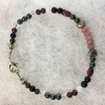 Ruby Rondelle Faceted, Hematite, Garnet, Clear Quartz, White Moonstone, Black Agate Bracelet