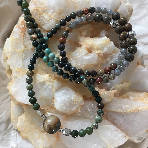 MALA Necklace with Canadian Jade, Rhyolite, Indian Bloodstone, Dragon's Blood, Green Rhodonite, Picasso Jasper, Labradorite, Sardonyx, and Amazonite GURU Stone