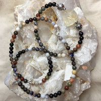 Chakra MALA Necklace with Black Sandalwood, Picasso Jasper, Crazy Lace Agate, Dragon's Blood, Orange Sodalite, Botswana Agate, and a Citrine Guru Stone