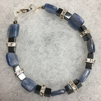 Kyanite, Hematite, and Rhinestone Bracelet