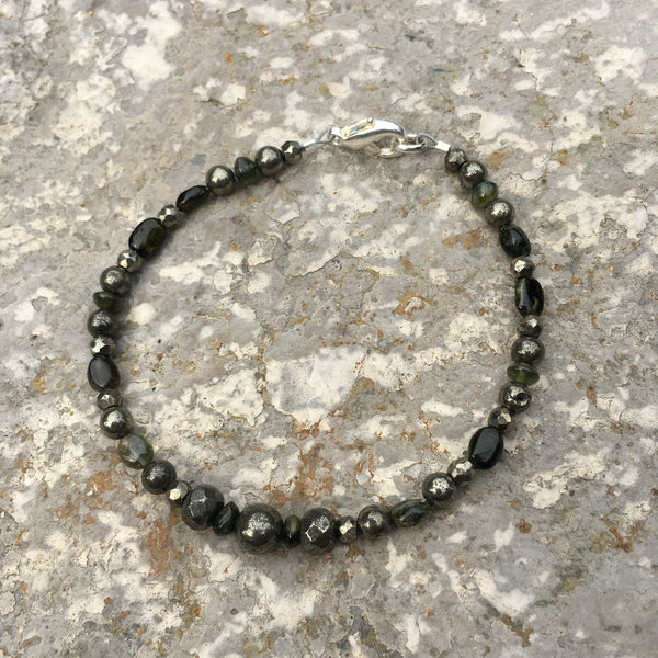 Pyrite and Tourmaline Bracelet