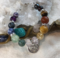 Chakra Multi, Clear Quartz, Hematite, Garnet, Tiger Eye, Carnelian, Mookaite, Citrine,Rose Quartz, African Turquoise, Green Tourmaline, Sodalite, Snowflake Obsidian, Banded Agate, Banded Amethyst