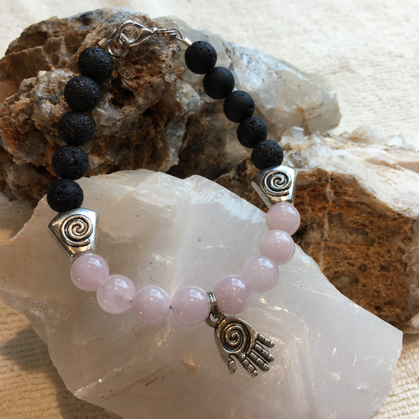Lava Rock and Rose Quartz Bracelet with Hand Amulet