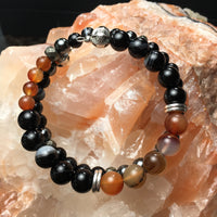 Carnelian, Black Onyx, Black Agate (dyed), Pyrite (faceted), Hematite Bracelet
