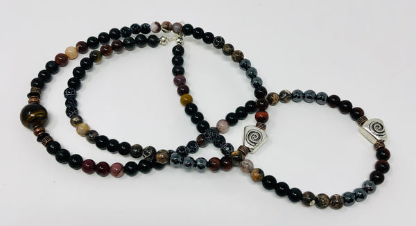 MALA NECKLACE, VARIEGATED TIGER EYE GURU