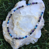 Anklet with White Moonstone, Lapis Lazuli, Larimar, Black Spinel, Pyrite, Amethyst, Hematite, Black Agate