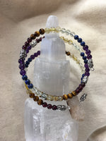Mala Chakra Bracelet: Garnet, Tiger Eye, Rutilated Quartz, Prehnite, Lapis Lazuli, Amethyst with Phantom Quartz Guru Stone
