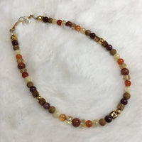 Goldstone, Citrine Rondelle Faceted, Carnelian, Yellow Calcite, (Tiger) Wood Jasper, Mookaite