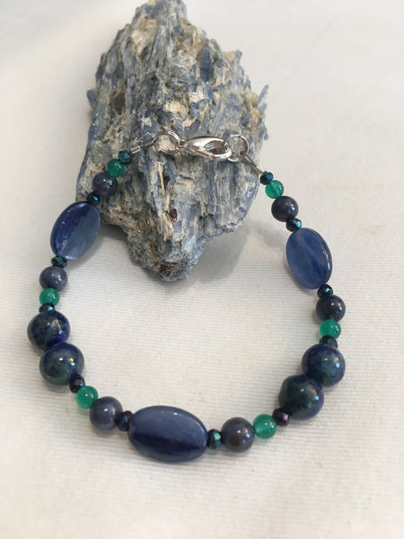 Kyanite, Blue Sapphire, Green Agate, Azurite, Black Spinel Facets/Titanium Coated Bracelet