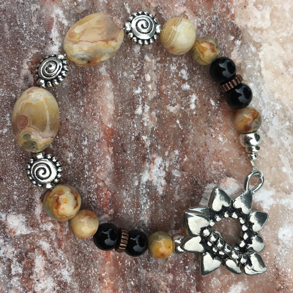 Crazy Lace Agate, Black Agate with Pewter Sunflower Toggle