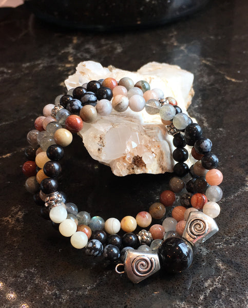 Mala Chakra Bracelet with Black Sandalwood, Polychrome Jasper, Crazy Lace Agate, Labradorite, Snowflake Obsidian, Moonstone with Petrified Wood Guru Stone