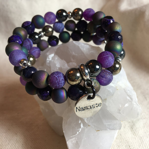 Agate Druzy, Agate Purple Crackle, Agate Purple/Black Faceted, Gold Hematite, Hematite