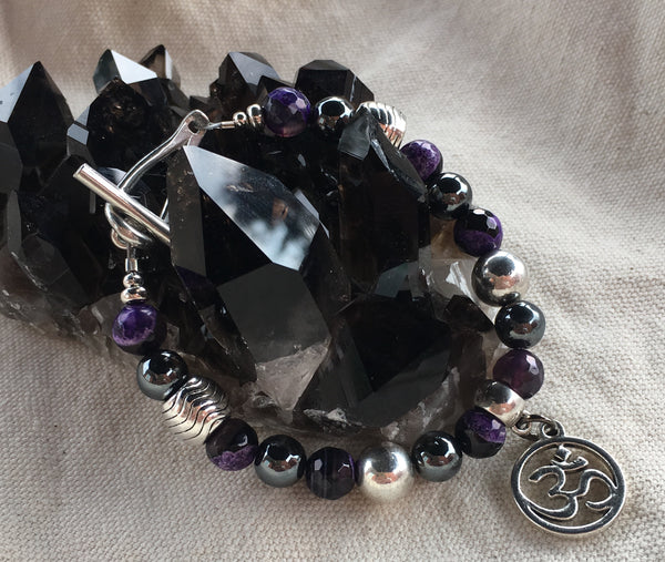 Purple and Black Faceted Agate and Hematite Bracelet with Om Charm and Toggle