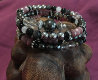 MALA Bracelet with Clear Quartz Faceted, Hematite Faceted, Black Onyx Rhinestone, Rondelle Ruby Faceted, Silver Hematite, Black Agate, White Moonstone, Black Labradorite Faceted, Hematite GURU Bead, on memory wire