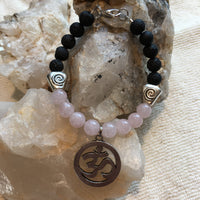 Lava Rock and Rose Quartz Bracelet with an OM Amulet