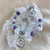 Rose Quartz, Amethyst, Fluorite Bracelet with OM Charm and Brass Toggle