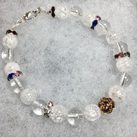 Clear Quartz and Clear Quartz Crackle with Rhinestone Bracelet