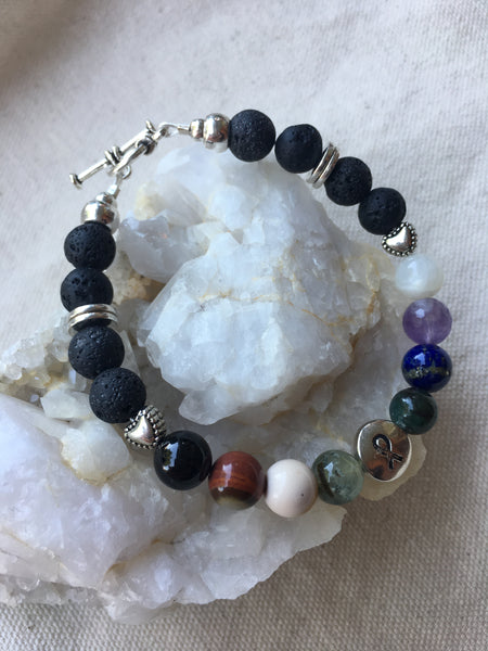 Chakra Bracelet with Lava Rock, Black Tourmaline, Polychrome Jasper, Mookaite, Green Tourmaline, Apatite, Lapis Lazuli, Amethyst, Moonstone with Brass Toggle
