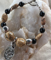 Picture Jasper, Black Agate with Pewter Toggle and Pewter Celtic Friendship Charm