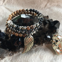 Rainbow Obsidian, Tiger Skin Sandalwood, Black Agate Dyed, Black Sandalwood, Agarwood, Hematite, Wenge Wood, and Pyrite Bracelet in Fibonacci Sequence with Pyrite Angel Wing