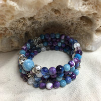 MALA Bracelet with Rainflower (Yuhua), Blue Quartz (Dumortierite), Ametrine, Larimar, Crackle Clear Quartz, Amethyst, and Larimar GURU Bead, on memory wire