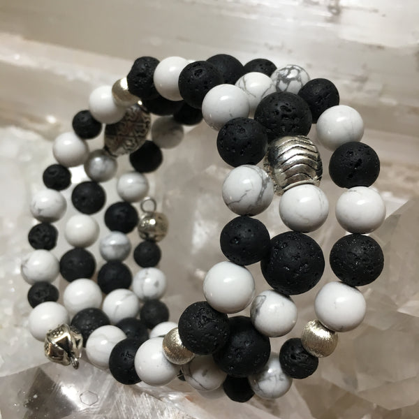 Lava Rock and Howlite Bracelet