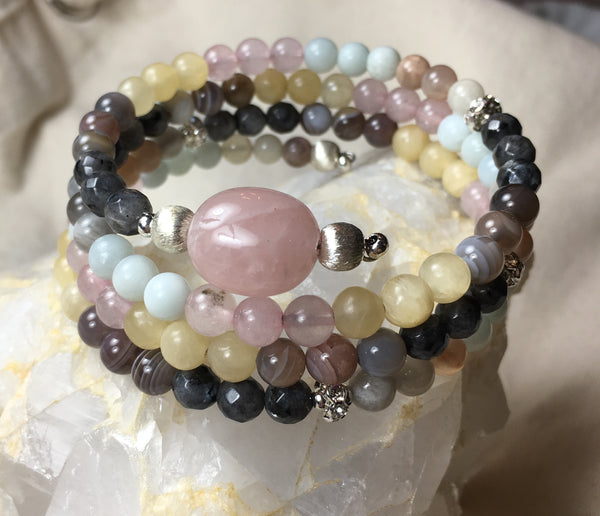 MALA Chakra Bracelet, Faceted Black Labradorite, Botswana Agate, Yellow Calcite, Rose Quartz, Amazonite, Moonstone, Rose Quartz GURU