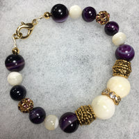 Banded Agate, Mother of Pearl, Rhinestone Bracelet