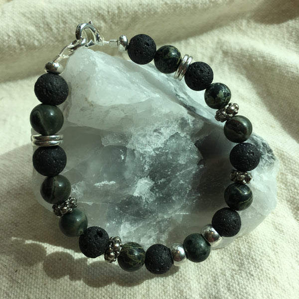 Moss Jasper and Lava Rock Bracelet
