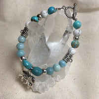 Turquoise, Amazonite, Emperor Jasper, Howlite Bracelet with Elephant Amulet and Brass Circle Toggle