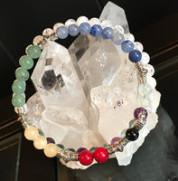 Fibonacci Spiral Sequence Chakra Bracelet with Jet, Red Coral, Yellow Calcite, Green Aventurine, Blue Aventurine, Fluorite, Clear Quartz Crackle