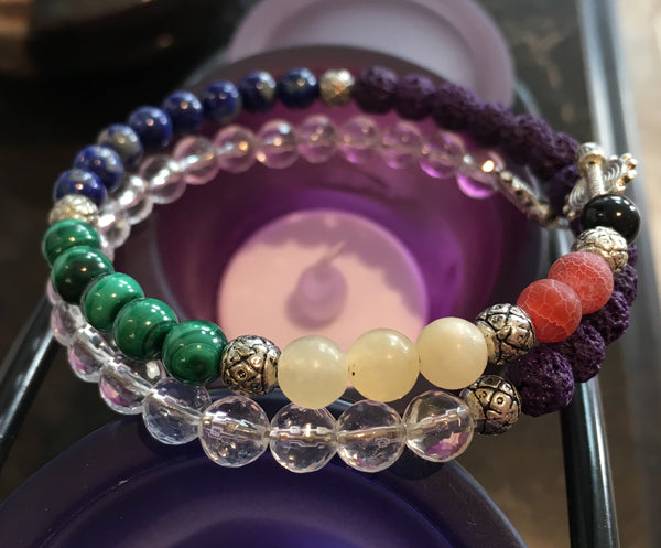 Fibonacci Chakra Sequence Bracelet with Black Tourmaline, Fire Crackle Agate, Yellow Calcite, Malachite, Lapis Lazuli, Purple Lava Rock, Clear Quartz Faceted