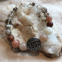 Moonstone, Smokey Quartz, Rutilated Quartz, Goldstone Bracelet with Pewter Celtic Protection Knot Amulet