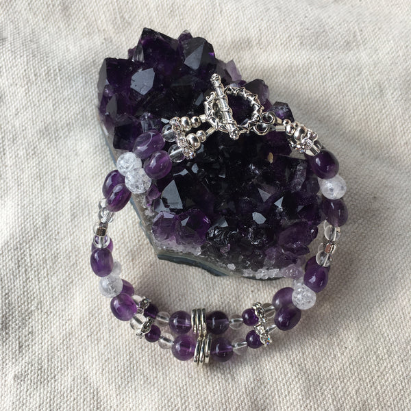 Amethyst, Crackle Quartz, and Clear Quartz Double Strand Bracelet with Pewter Toggle