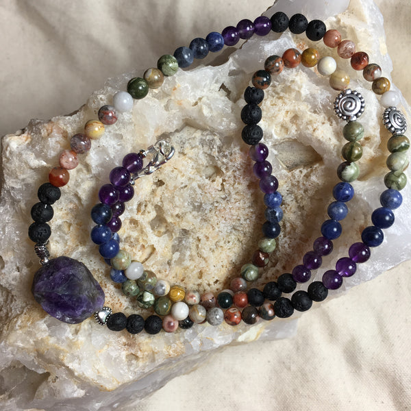 Mala Chakra Necklace: Lava Rock, Agate, Crazy Lace Agate, Rhyolite, Sodalite, Amethyst and with Amethyst GURU Stone