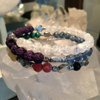 Fibonacci Sequence Chakra Bracelet with Black Onyx, Fire Crackle Agate, Yellow Calcite, Malachite, Blueberry Quartz, Purple Lava Rock, Clear Quartz Crackle