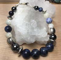 Sodalite, Mother of Pearl, Hematite Bracelet