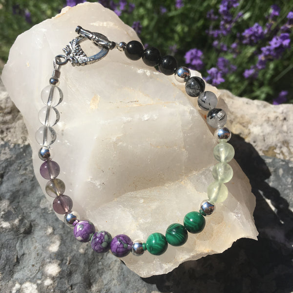 Jet, Black Rutilated Quartz, Prehnite, Malachite, Rainflower (Yuhua), Ametrine, Clear Quartz Bracelet with Toggle