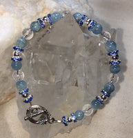 Aquamarine, Faceted Clear Quartz Bracelet with Brass Toggle