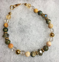 Rhyolite, Crazy Lace Agate, Rutilated Quartz, Citrine Bracelet