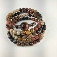 MALA BRACELET, RED TIGER EYE GURU BEAD