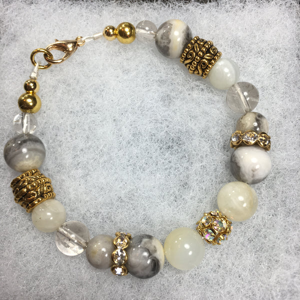 Moonstone, Crazy Lace Agate, Rutilated Quartz, Rhinestone Bracelet