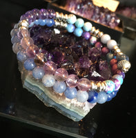 Fibonacci Sequence Bracelet with Kyanite, Angelite, Larimar, Amethyst, Ametrine, Blue Rainflower (Yuhua), Blue Aventurine