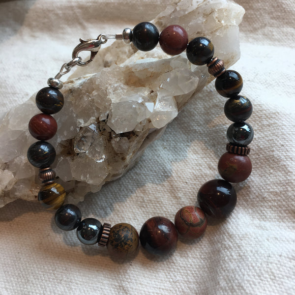 Red Tiger Eye, Cherry Creek Jasper, Hematite, Tiger Iron, Polychrome Jasper, Yellow/Brown Tiger Eye Bracelet