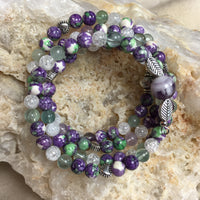 MALA Bracelet with Rainflower (Yuhua), Fluorite, Crackle Clear Quartz, Banded Amethyst GURU Bead, on memory wire