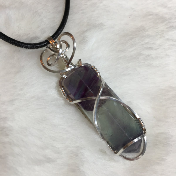Fluorite Point Wrapped in Argentium Silver
